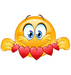 emoticon with heart banner vector image