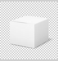 Empty white box cardboard cubic cosmetic box vector