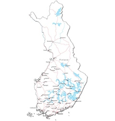 Finland Black White Map vector image