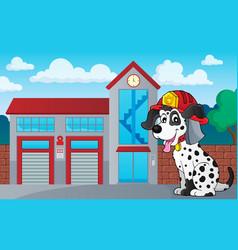 Firefighter dog theme 3 vector