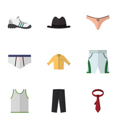 Flat icon garment set of panama lingerie trunks vector