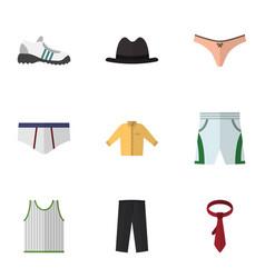 flat icon garment set of panama lingerie trunks vector image