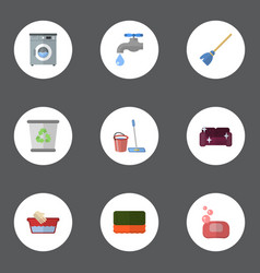 flat icons faucet garbage container wisp and vector image