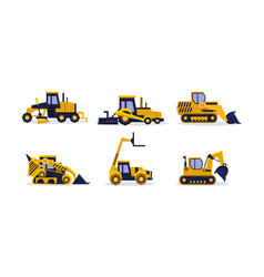Flat set of colorful construction vehicles vector
