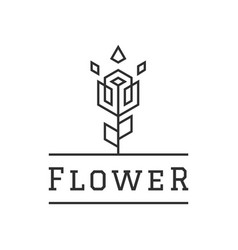 flower creative logo design linear style simple vector image vector image