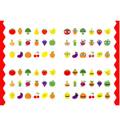 fruit berry vegetable face icon set moustaches vector image