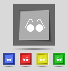 Glasses icon sign on original five colored buttons vector