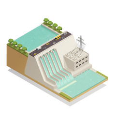 Green energy hydropower isometric composition vector