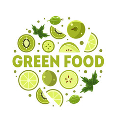 green food banner template with fresh fruits and vector image