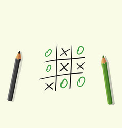 hand drawing playing tic tac toe pencils vector image