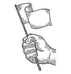 Hand with white flag vector