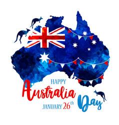 happy australia day lettering map of australia vector image