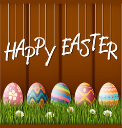 happy easter with eggsgrass on wood background vector image