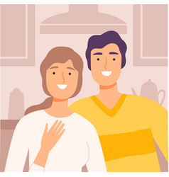 happy family couple communicating online from home vector image