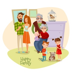 Happy Family Flat Template vector image