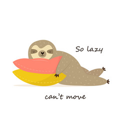 happy sloth having a nap on pillows vector image