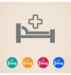 icons with bed and cross hospital sign vector image