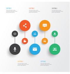 Internet icons set collection publish message vector