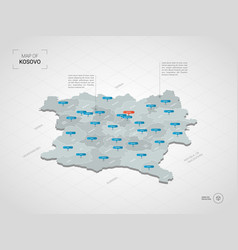 Isometric kosovo map with city names and vector