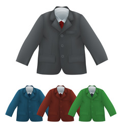 Kids jacket shirt and tie blank template vector