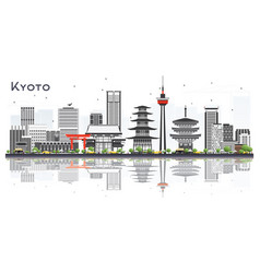 Kyoto japan city skyline with gray buildings and vector