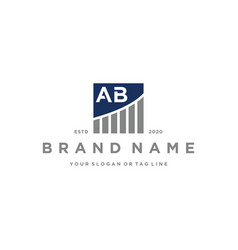 Letter ab chart financial logo design vector