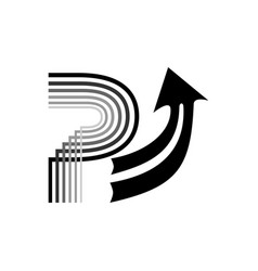 letter p with an up arrow black and white logo vector image