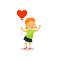 lovely little girl with balloon in the shape of vector image