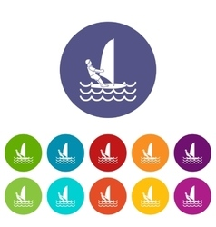 Man on windsurf set icons vector image