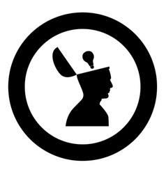 man with lightbulb idea in open head black icon vector image