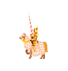 Medieval knight riding horse holding lance brave vector