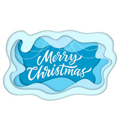 merry christmas - modern paper cut vector image