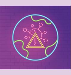 Neon 2019 ncov outbreak pandemic warning world vector