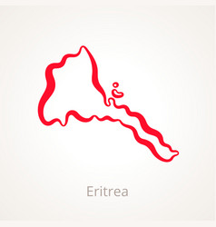 Outline map of eritrea marked with red line vector