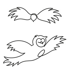 owl in profile and full-face flies hand-drawn vector image
