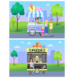 pizza and ice cream stands in modern city park vector image