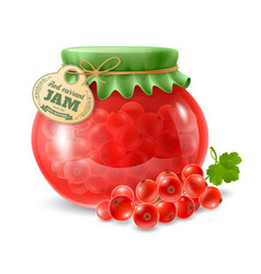 Red currant jam in glass jar vector