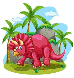 Red dinosaur at the jungle vector