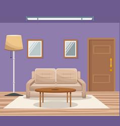Room home interior sofa mirror floor lamp door vector
