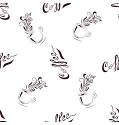 Seamless Pattern Hand Drawn Coffee Cup with Floral vector
