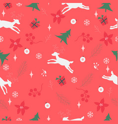 seamless pattern with ornaments deer snowflakes vector image