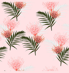 Seamless tropical protea flowers and palm leaves vector
