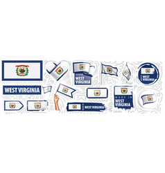 set flags american state west vector image