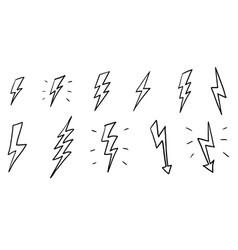 Set hand drawn electric lightning bolt symbol vector