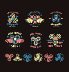 set of hand spinner logo emblems and icons vector image