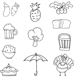 Set of thanksgiving hand draw vector