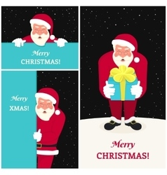 Set of three smiling Santa Claus greeting card vector