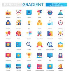 set trendy flat gradient startup vector image