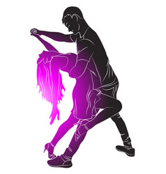 Silhouette guy and girl dance latina vector