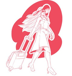 Sketch woman tourist travelling vector